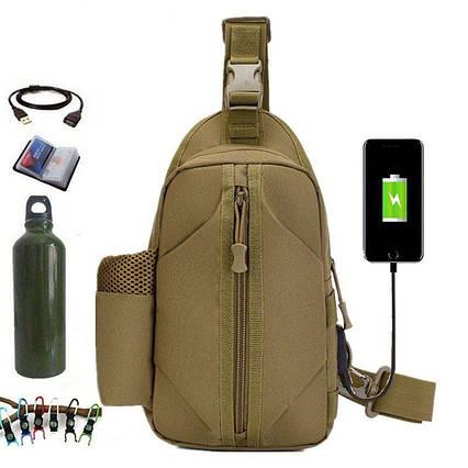 Тактична сумка-рюкзак барсетка бананка на одній лямці Койот T-Bag 447 ViPvse