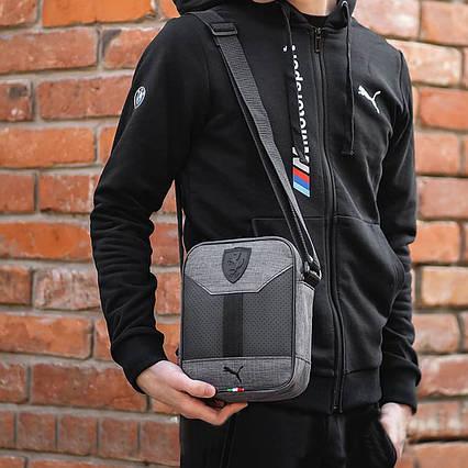 Стильная сумка через плечо барсетка Puma Ferrari пума ферари Серая с черным ViPvse