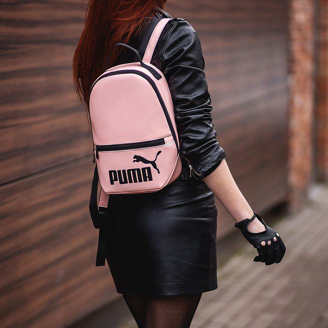 Розовый женский небольшой рюкзак Puma пума Кожзам ViPvse