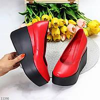 Модельные кожаные красные женские туфли натуральная кожа на платформе танкетке