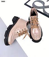 Женские кожаные лаковые демисезонные ботинки 36-41 р визон, фото 1
