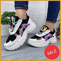 Модні жіночі чорно-білі кросівки, фото 1