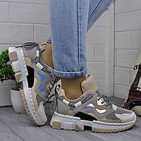 Жіночі бежеві кросівки з голограмою, фото 1