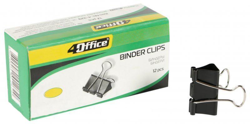 Биндер 25 мм, черный, 12шт, карт. упаковка, 4OFFICE, №4-328