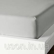 Сатиновая однотонная простынь на резинке Тм Bella Villa 200*200 серый
