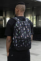 Рюкзак унісекс чорний Rabbit принт. Стильний Рюкзак чорного кольору.