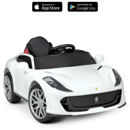 Дитячий електромобіль Ferrari (2 мотора за 25W,муз,MP3,TF,USB) Bambi M 4615EBLR-1 Білий