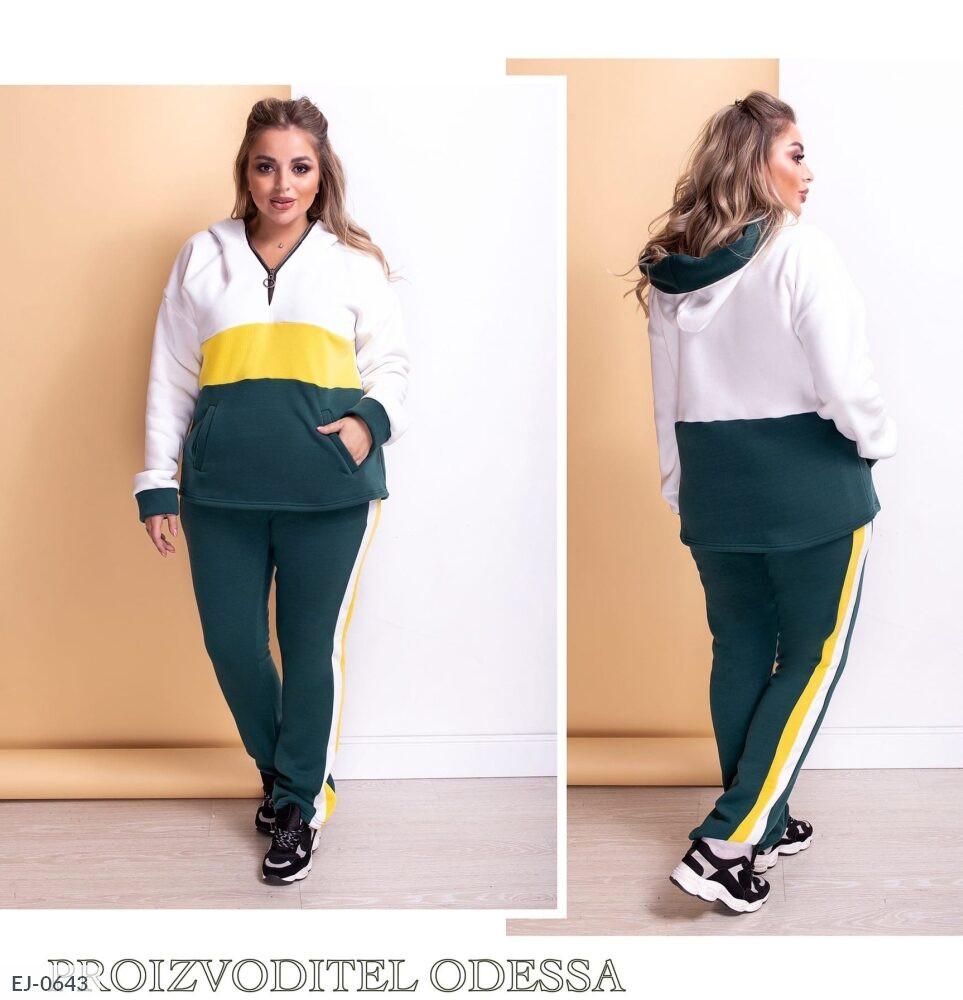 Женский спортивный костюм из трехнитки на осень с удлиненной кофтой больших размеров батал 52-62 арт. 0789