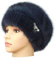 Норковая шапка женская Ника 2 на трикотаже (ирис)