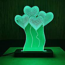 Акриловий світильник-нічник Серця зелений tty-n000012