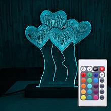 Акриловий світильник-нічник з пультом 16 кольорів Серця tty-n000035