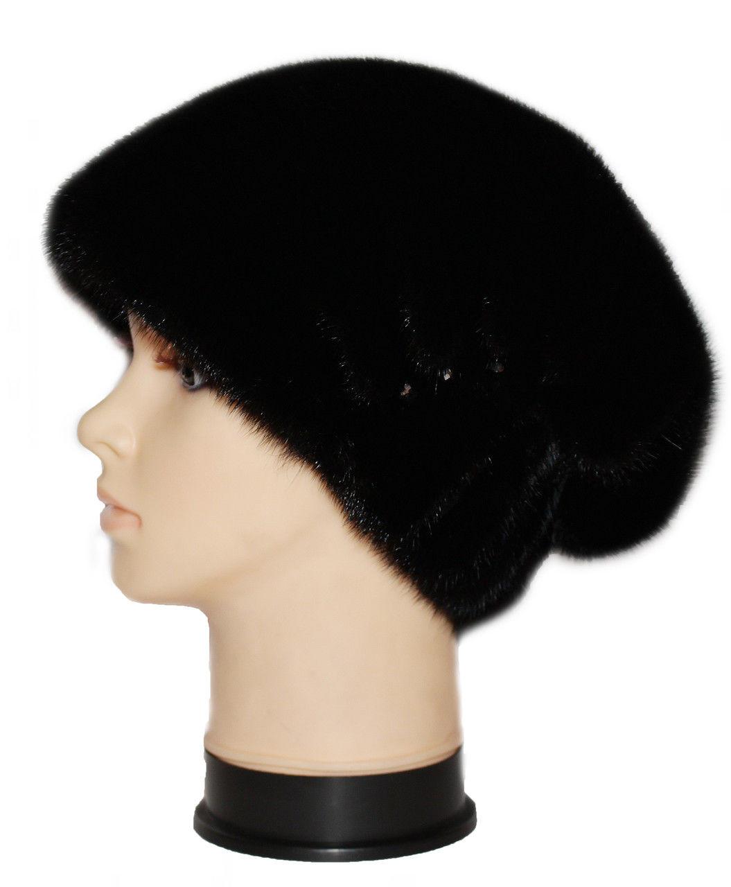 Чёрная женская норковая шапка Ника