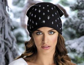 Женская трикотажная молодежная шапка со стразами Damiana.