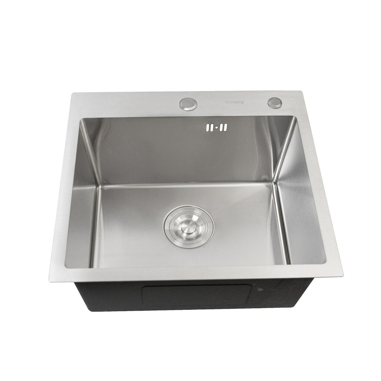 Кухонна мийка Platinum Handmade 50 * 50/220 3,0 / 1,5 мм кошик і дозатор в комплекті