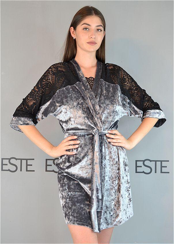 Жіночий халат велюровий Este з мереживними вставками 313.