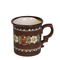 """Глиняная посуда """"Чашка средняя обрезная Вишенка"""""""
