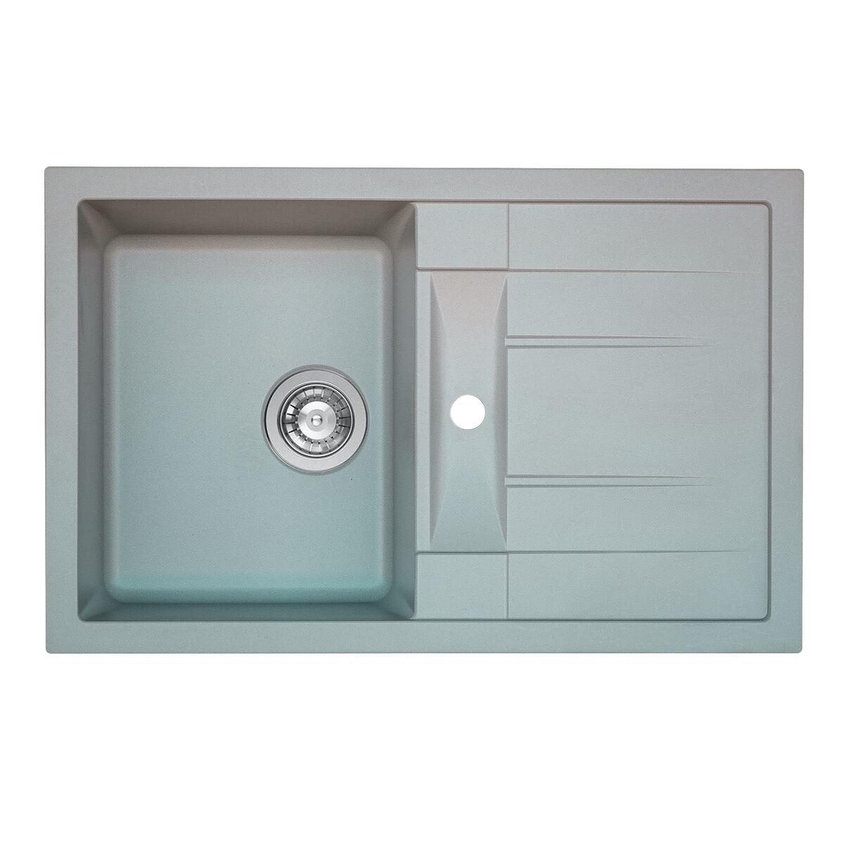 Гранитная мойка для кухни Platinum 7850 TROYA матовая Серый металлик