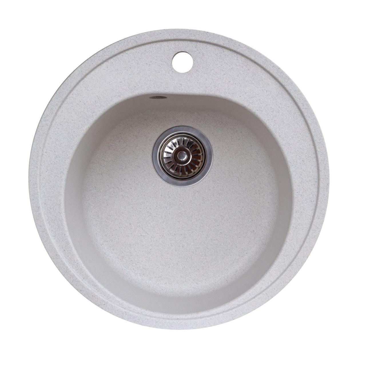 Гранітна мийка для кухні Platinum 510 LUNA матова Біла в точку