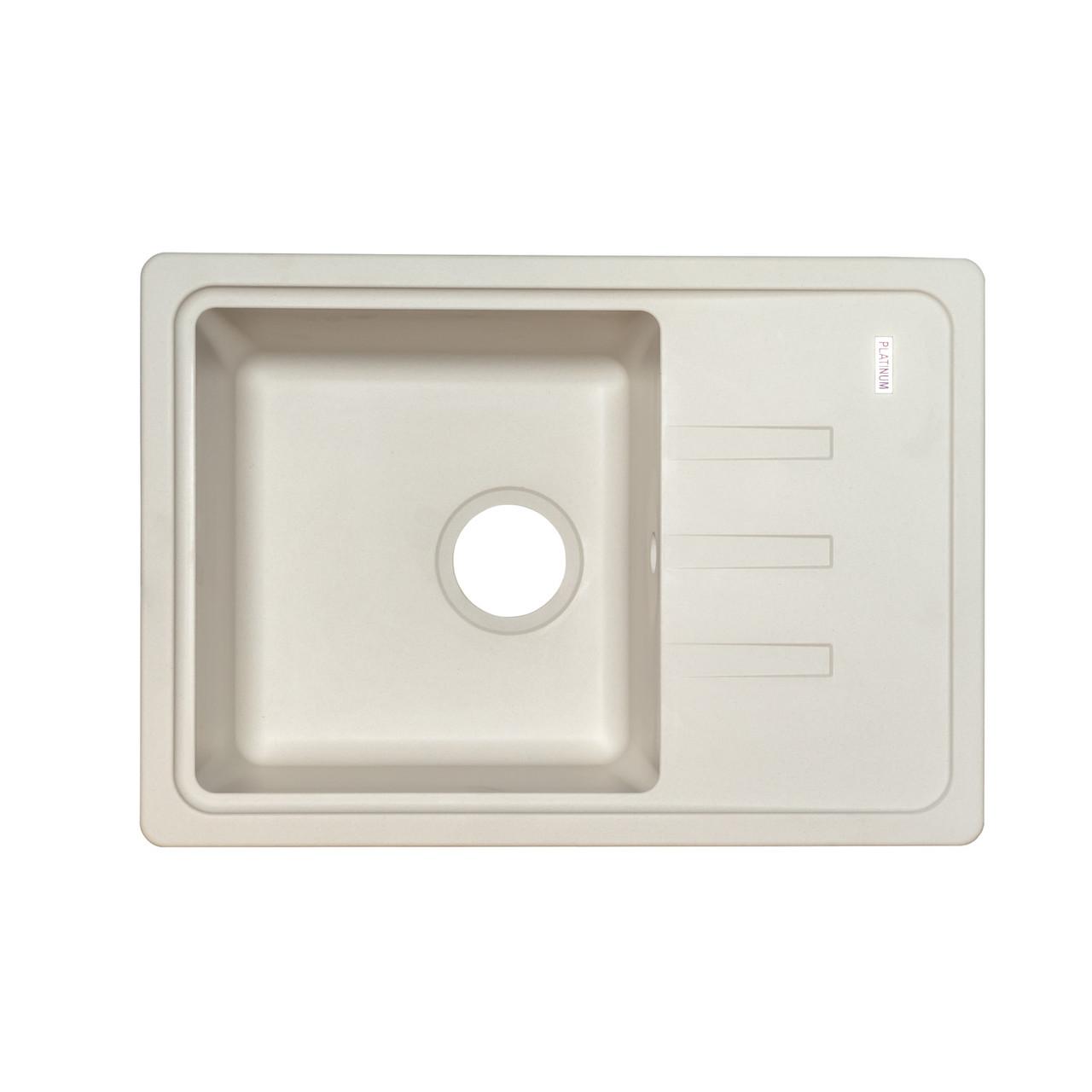 Гранитная мойка для кухни Platinum 6243 LIANA матовая Белая