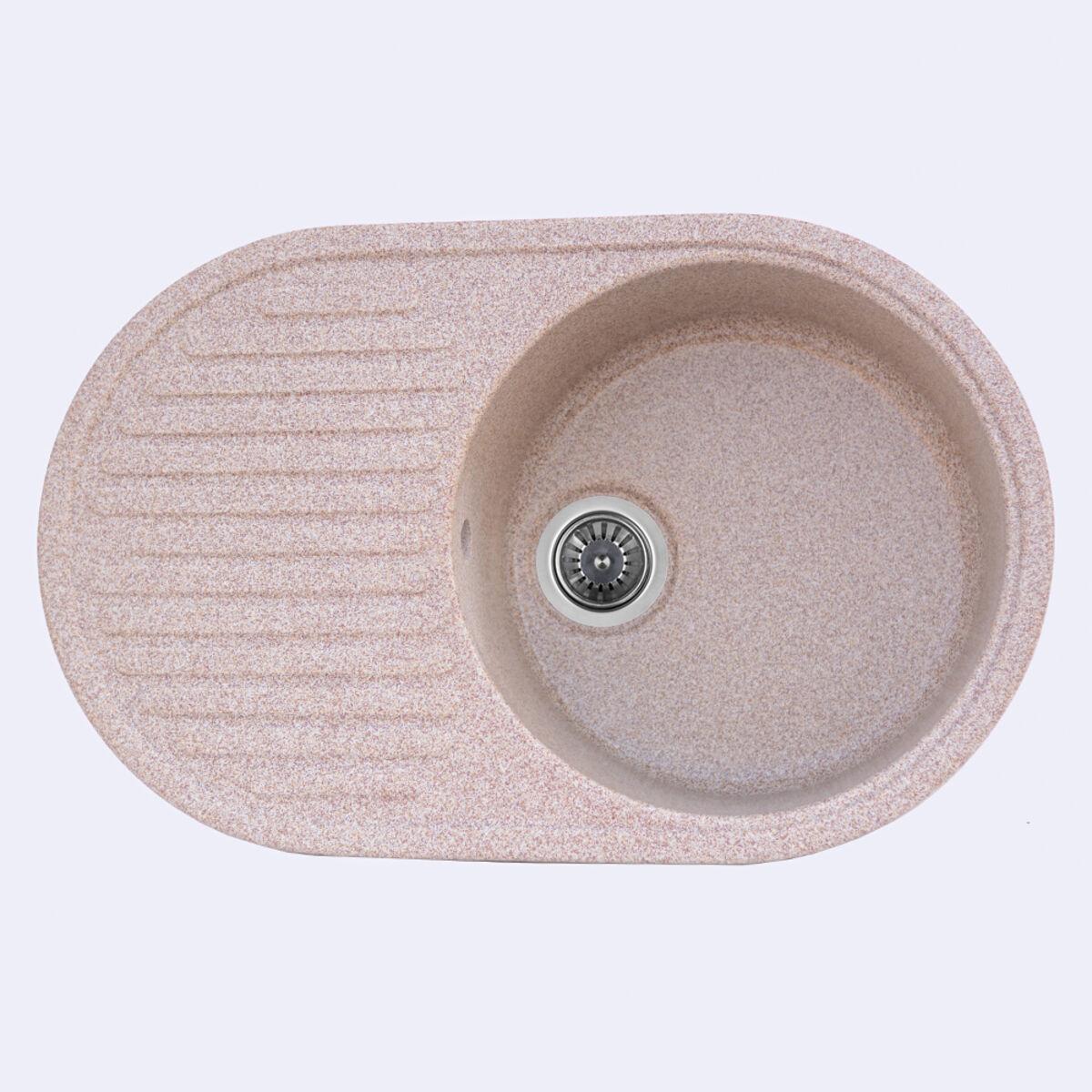 Гранітна мийка для кухні Platinum 7346 ASTORIA глянець Карамель