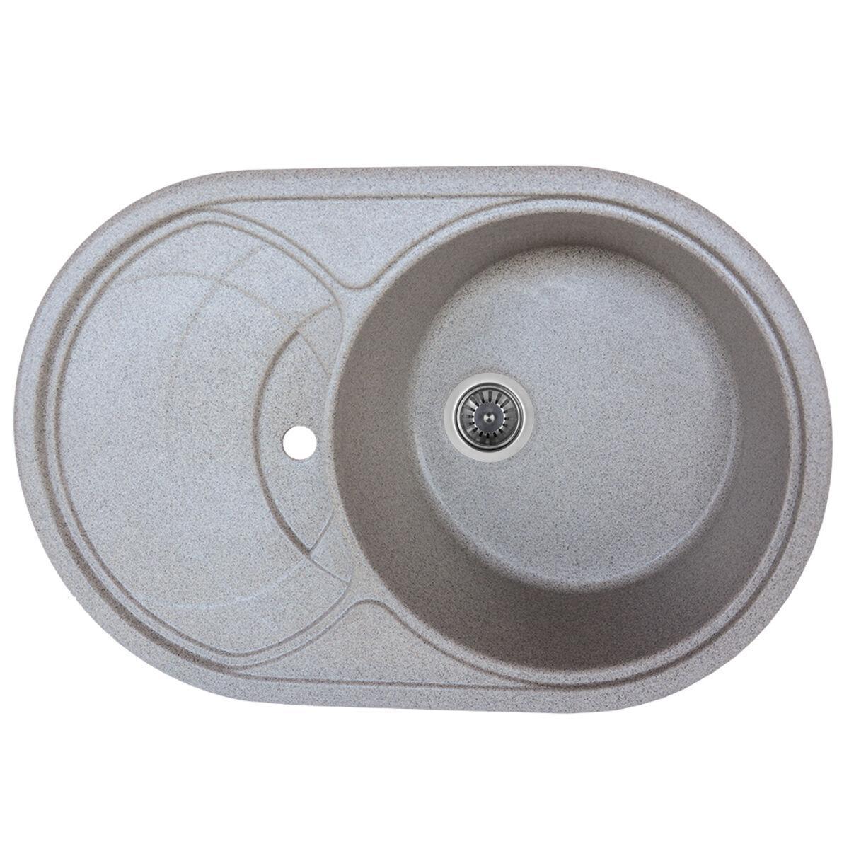 Гранитная мойка для кухни Platinum 7750 GAZZO глянец Серая
