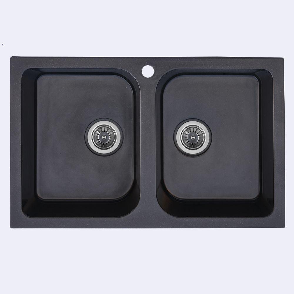 Гранитная мойка для кухни Platinum 7648W TWIN глянец Черный металлик