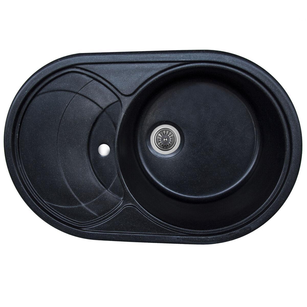 Гранитная мойка для кухни Platinum 7750 GAZZO глянец Черный металлик