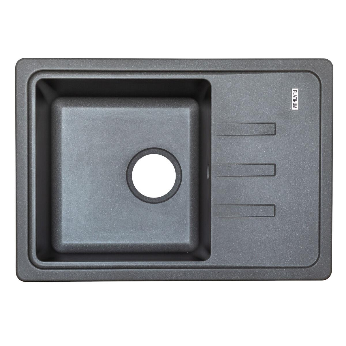 Гранитная мойка для кухни Platinum 6243 LIANA матовая Черная