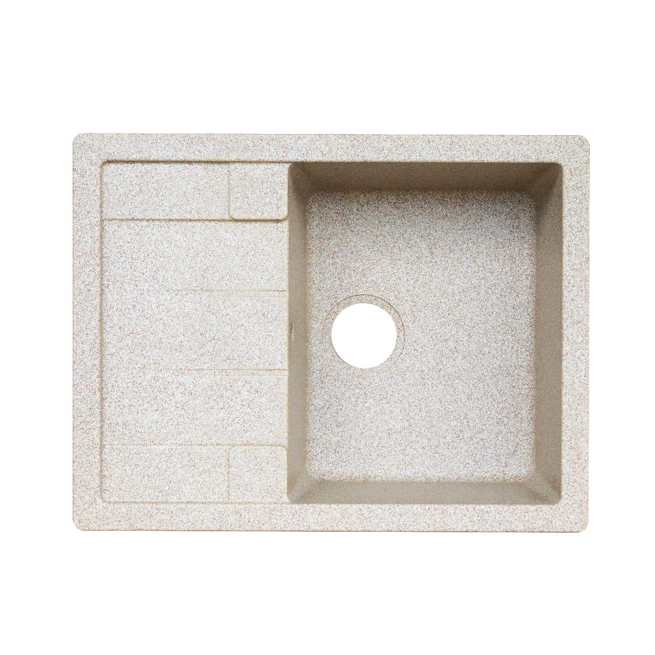 Гранитная мойка для кухни Platinum 6550 INTENSO матовая Белая в точку