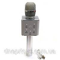 Беспроводной портативный микрофон-колонка для караоке с чехлом Серебряный (Q7), фото 2