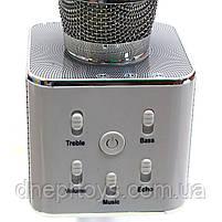 Беспроводной портативный микрофон-колонка для караоке с чехлом Серебряный (Q7), фото 3