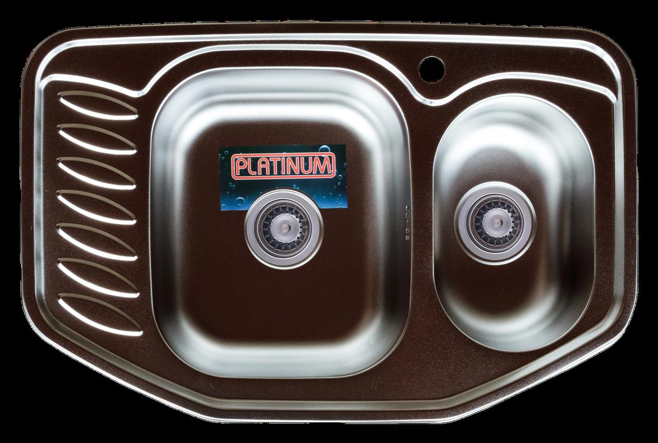 Кухонная мойка из нержавеющей стали Platinum 7851D ДЕКОР 0,8 / 180