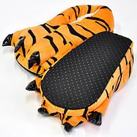 Тапки лапки кигуруми с когтями Тигр оранжево-черные