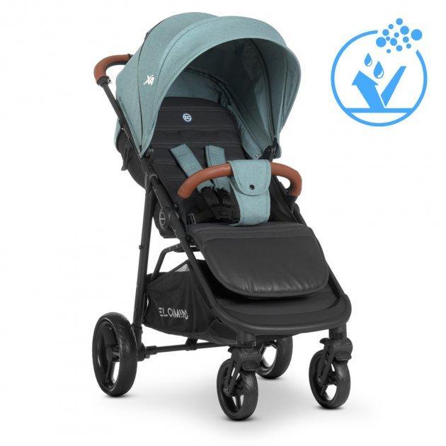 Прогулочная коляска-книжка для детей от 6 месяцев «EL CAMINO» X4 ME 1024 Cloud Blue, сине-зеленая
