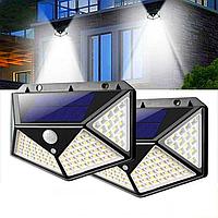 Вуличний ліхтар LED з сонячною батареєю і датчиком руху 100 LED комплект 2 шт, фото 1