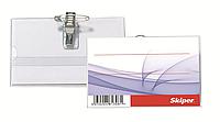 Бейдж c зажимом и булавкой, 90*57 мм,  прозрачный, Skiper, SK-003