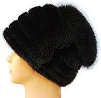 Норковая чёрная шапка с песцовым донышком,Оксана