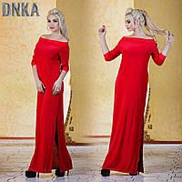 Платье Трикотажное Длинное с разрезом Макси Красное Платье в пол Черное Открытые Плечи