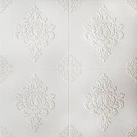 Потолочная 3Д-панель ПВХ Белый Ажур Вензеля (3Д панели самоклеющаяся мягкая для потолка плитка) 700*700*6 мм, фото 1