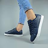 Сині кросівки, кеди з натуральної шкіри, фото 6