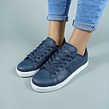 Сині кросівки, кеди з натуральної шкіри, фото 5