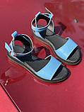 Яркие голубые босоножки из натуральной кожи, фото 2