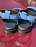 Яскраві блакитні босоніжки з натуральної шкіри, фото 3