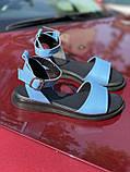 Яркие голубые босоножки из натуральной кожи, фото 7