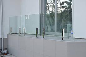 Скляні огорожі для балконів і терас, балконні перила зі скла, фурнітура з нержавіючої сталі, установка