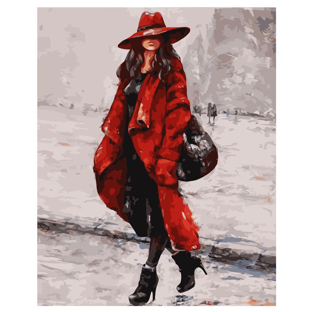 Картина по Номерам Женщина в красной шляпе 40х50см Strateg