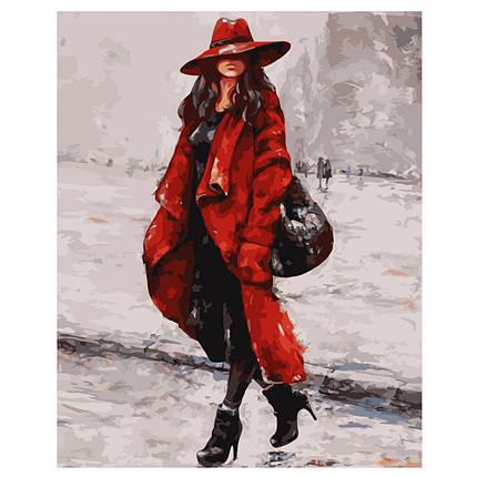 Картина по Номерам Женщина в красной шляпе 40х50см Strateg, фото 2