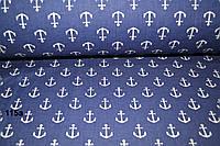 Ткань с якорями на синем фоне (№ 115а).