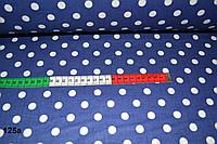 Ткань с белым горошком 1 см на синем фоне (№ 125а).