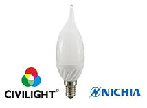 Светодиодная лампа CIVILIGHT F37 KF25T4 свеча тепло белая 4Вт CRI80 E14 4638